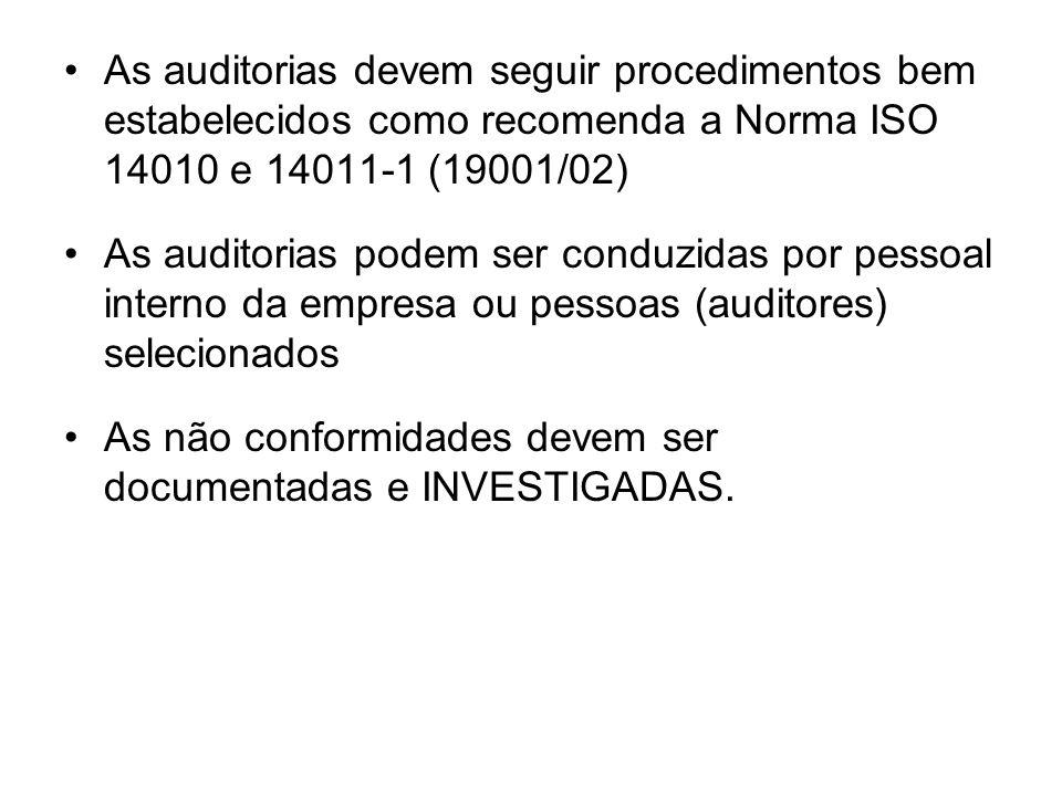 As auditorias devem seguir procedimentos bem estabelecidos como recomenda a Norma ISO 14010 e 14011-1 (19001/02)