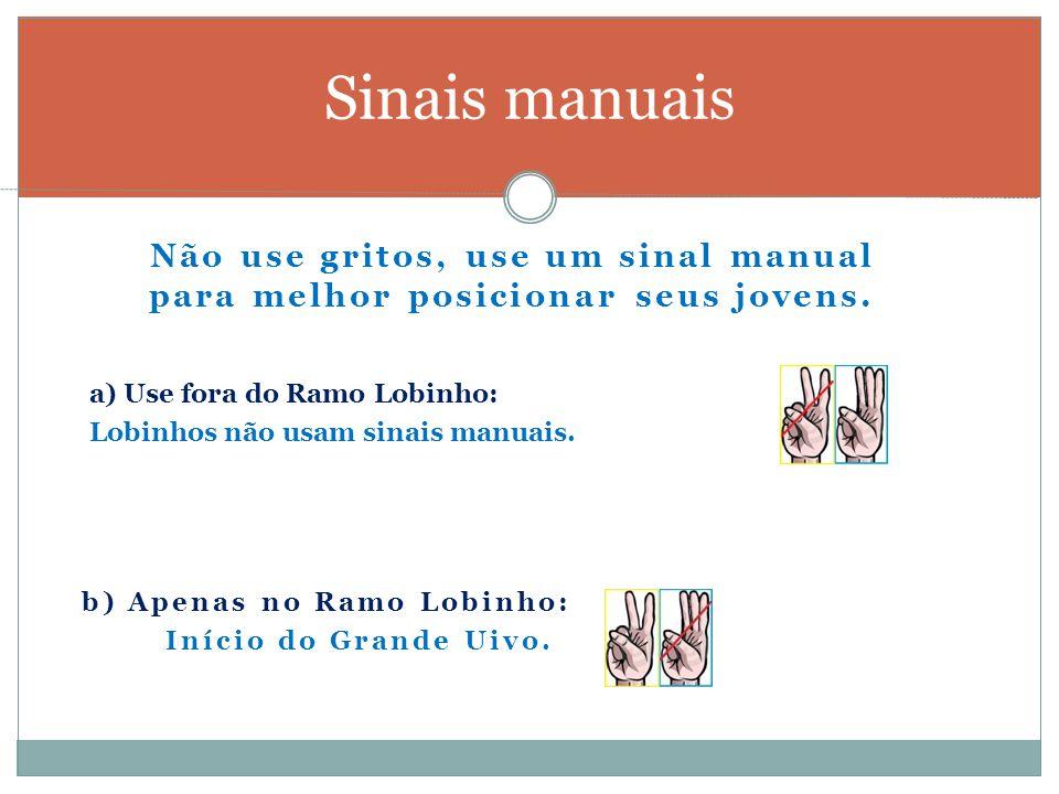 Sinais manuais Não use gritos, use um sinal manual para melhor posicionar seus jovens. a) Use fora do Ramo Lobinho: