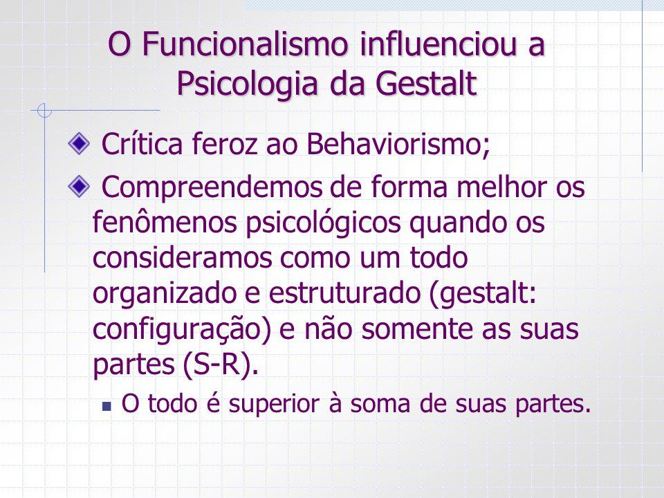 O Funcionalismo influenciou a Psicologia da Gestalt