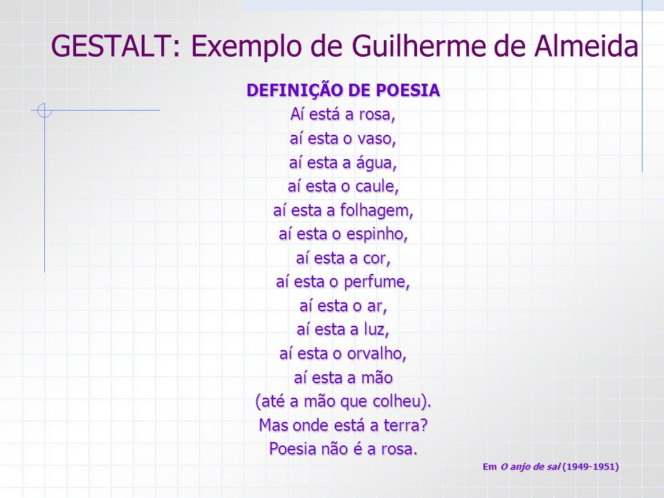 GESTALT: Exemplo de Guilherme de Almeida