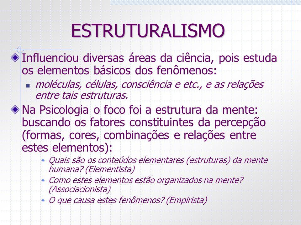 ESTRUTURALISMO Influenciou diversas áreas da ciência, pois estuda os elementos básicos dos fenômenos: