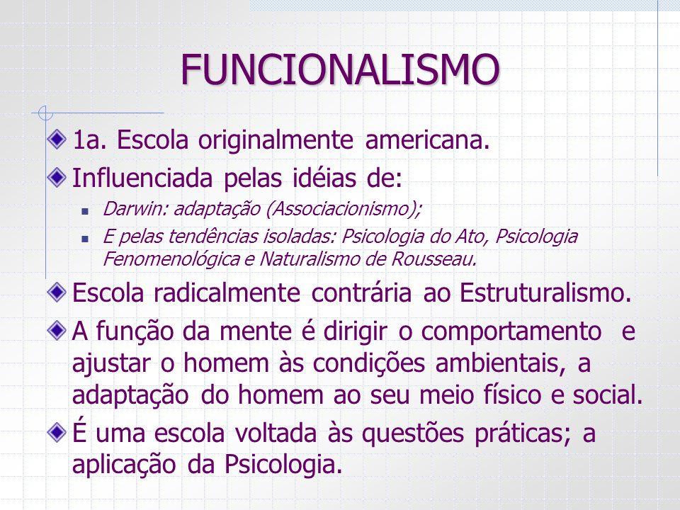 FUNCIONALISMO 1a. Escola originalmente americana.