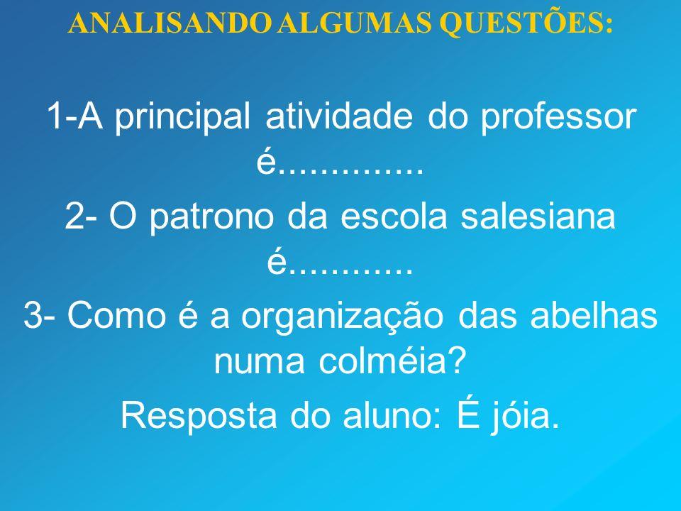 ANALISANDO ALGUMAS QUESTÕES: