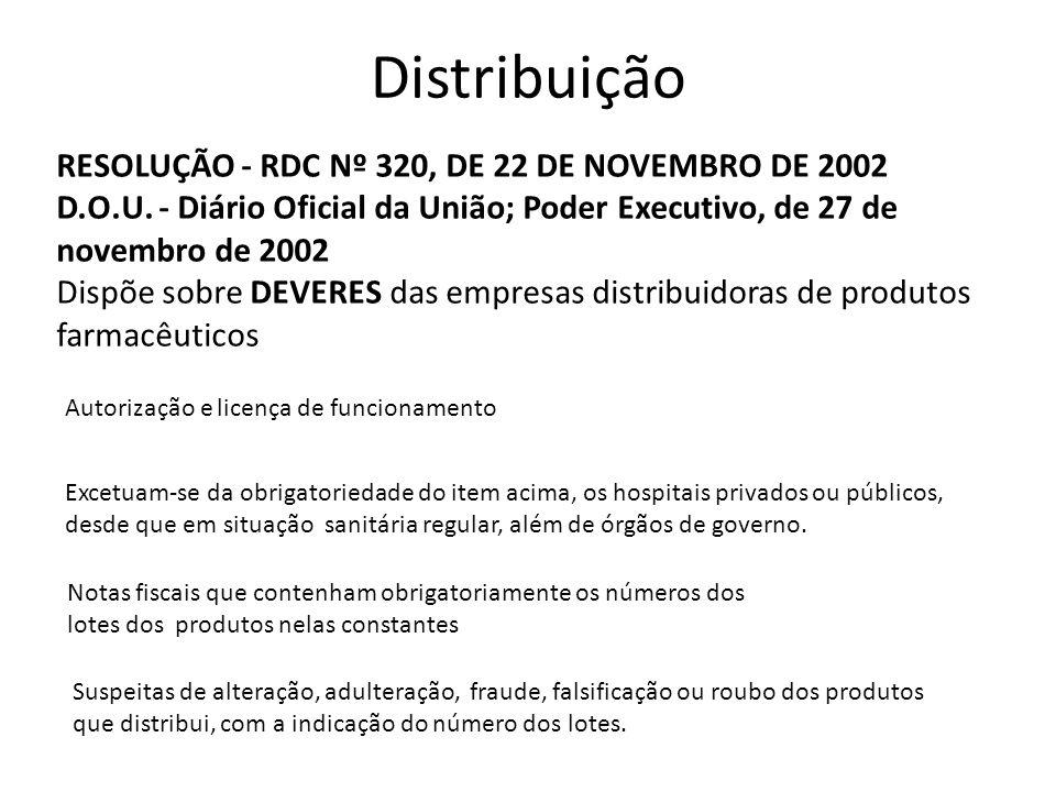 Distribuição RESOLUÇÃO - RDC Nº 320, DE 22 DE NOVEMBRO DE 2002