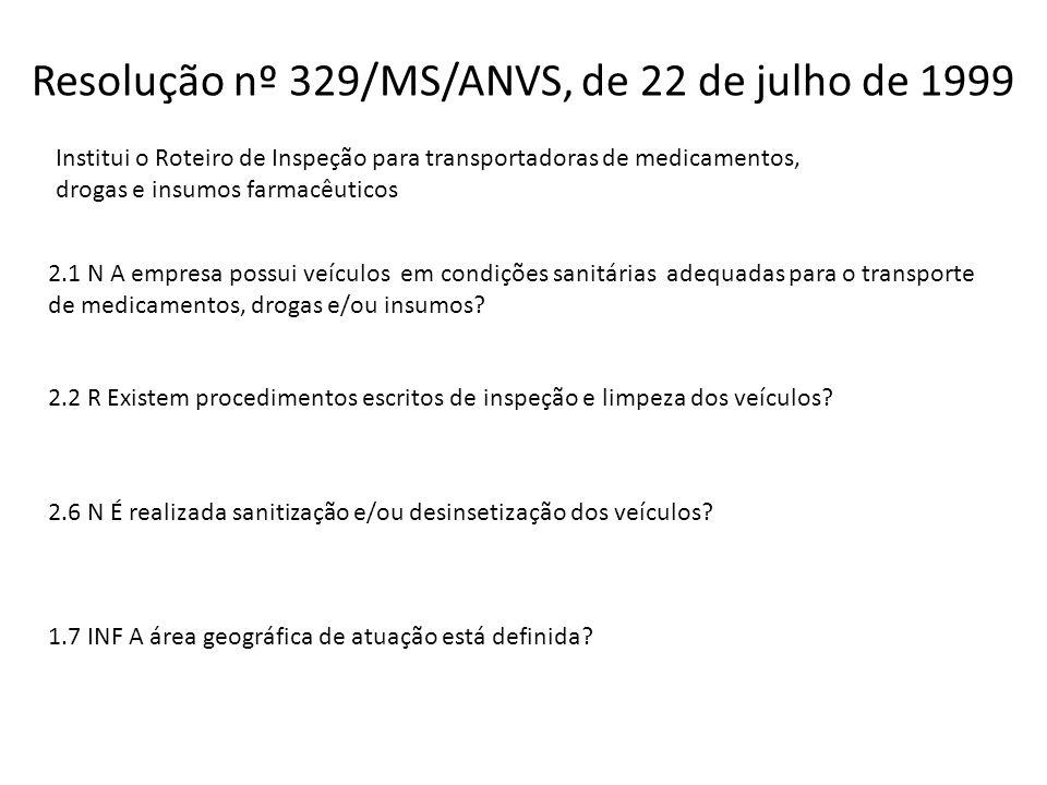 Resolução nº 329/MS/ANVS, de 22 de julho de 1999