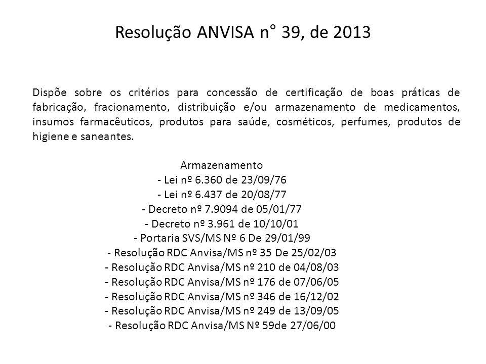 Resolução ANVISA n° 39, de 2013