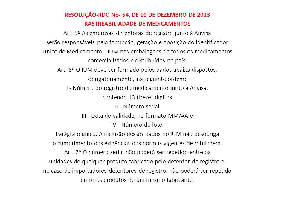 RESOLUÇÃO-RDC No- 54, DE 10 DE DEZEMBRO DE 2013