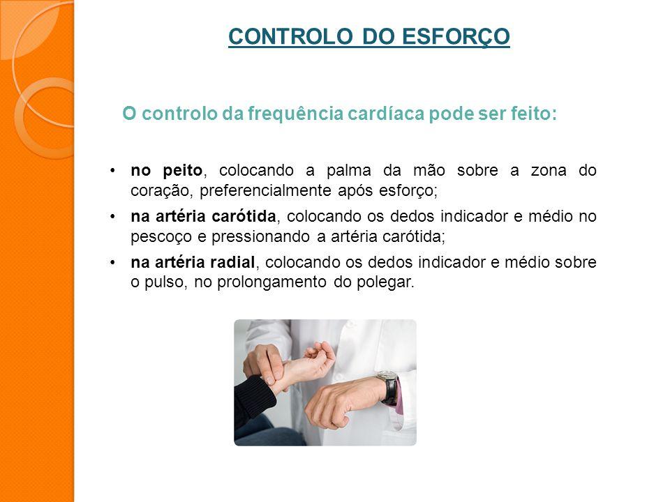 CONTROLO DO ESFORÇO O controlo da frequência cardíaca pode ser feito: