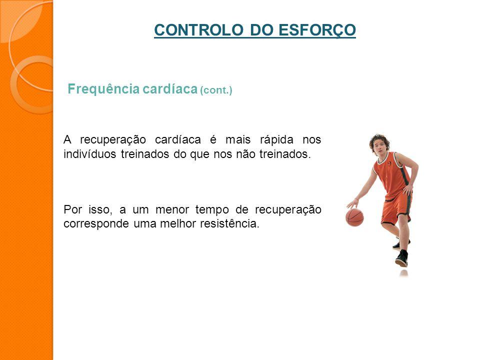 CONTROLO DO ESFORÇO Frequência cardíaca (cont.)
