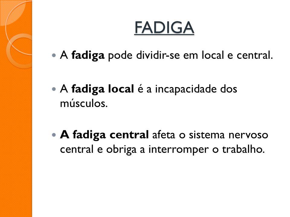 FADIGA A fadiga pode dividir-se em local e central.