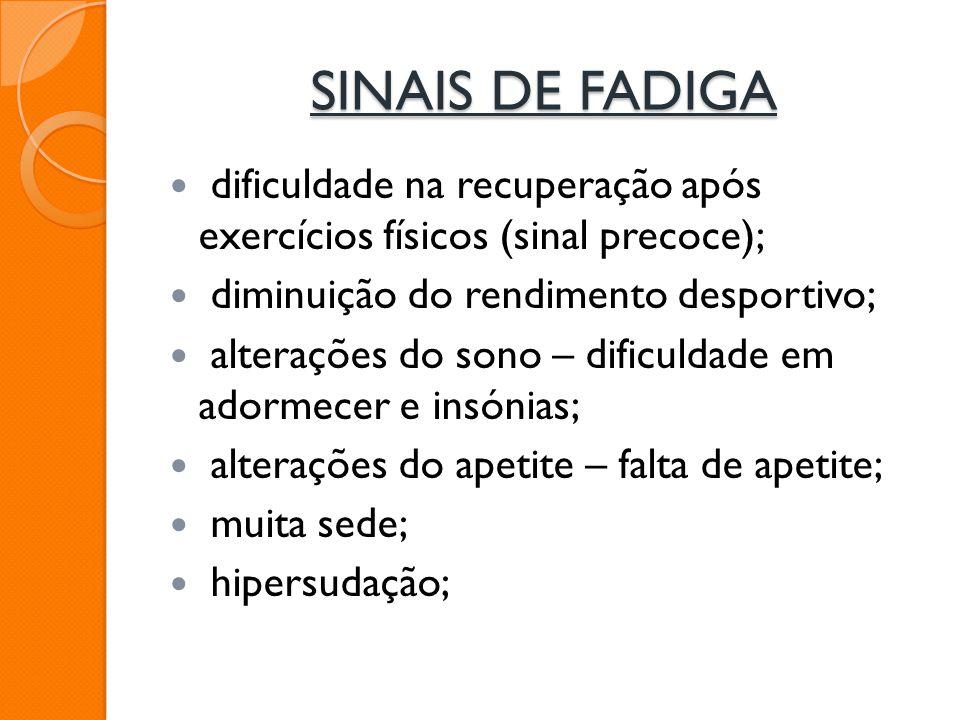 SINAIS DE FADIGA dificuldade na recuperação após exercícios físicos (sinal precoce); diminuição do rendimento desportivo;