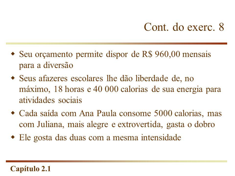 Cont. do exerc. 8 Seu orçamento permite dispor de R$ 960,00 mensais para a diversão.