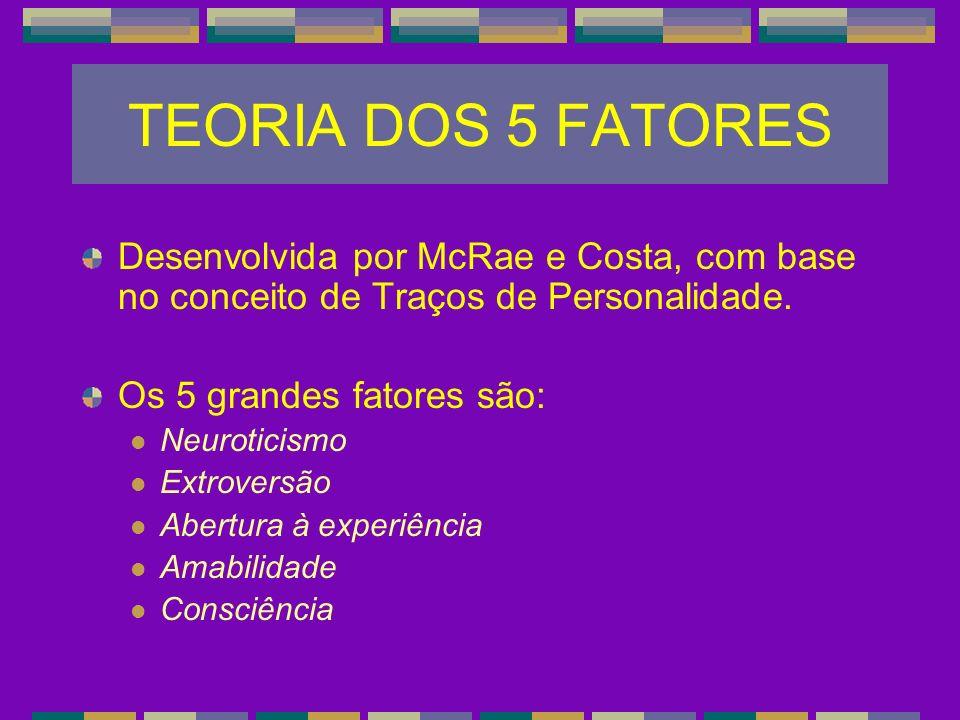 TEORIA DOS 5 FATORES Desenvolvida por McRae e Costa, com base no conceito de Traços de Personalidade.
