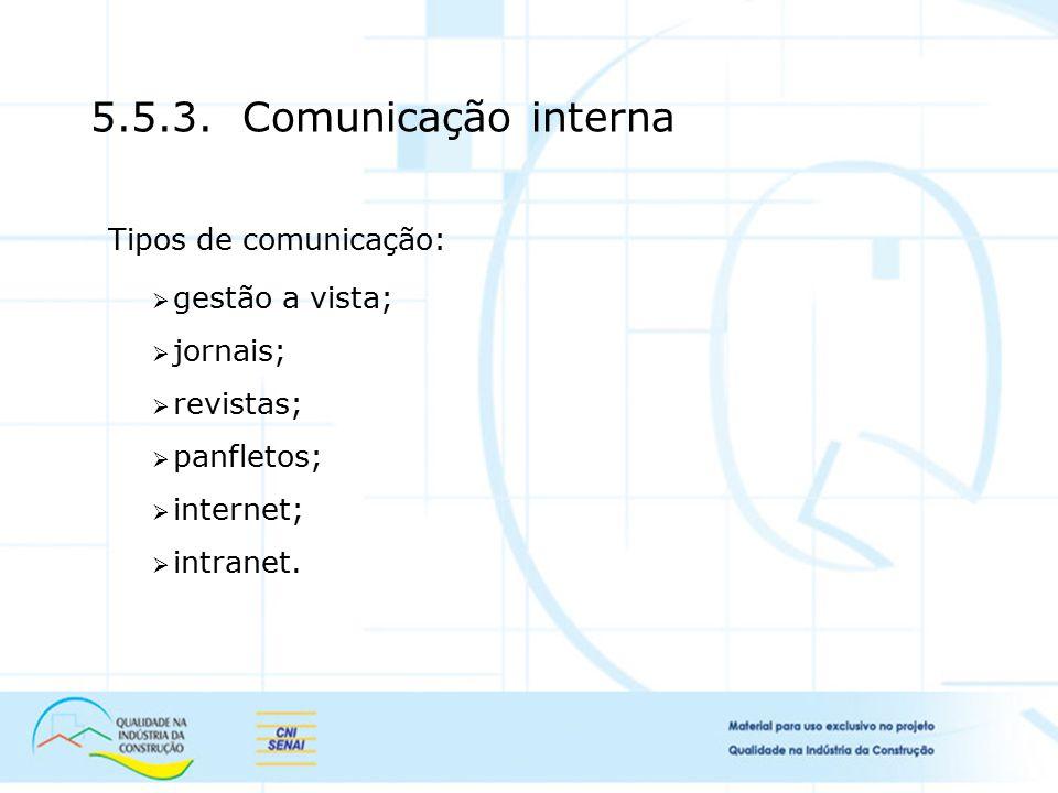 5.5.3. Comunicação interna Tipos de comunicação: gestão a vista;