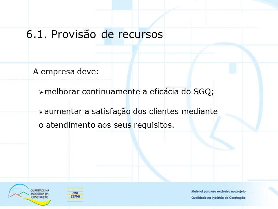 6.1. Provisão de recursos A empresa deve: