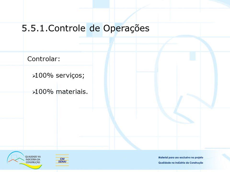 5.5.1.Controle de Operações Controlar: 100% serviços; 100% materiais.