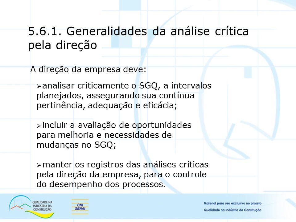 5.6.1. Generalidades da análise crítica pela direção