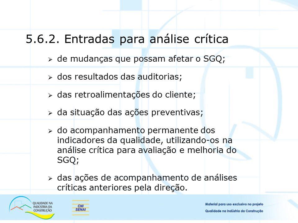 5.6.2. Entradas para análise crítica