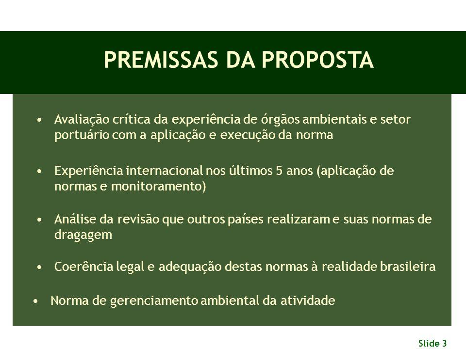 PREMISSAS DA PROPOSTA Avaliação crítica da experiência de órgãos ambientais e setor portuário com a aplicação e execução da norma.