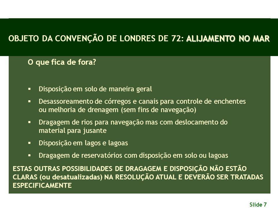 OBJETO DA CONVENÇÃO DE LONDRES DE 72: ALIJAMENTO NO MAR