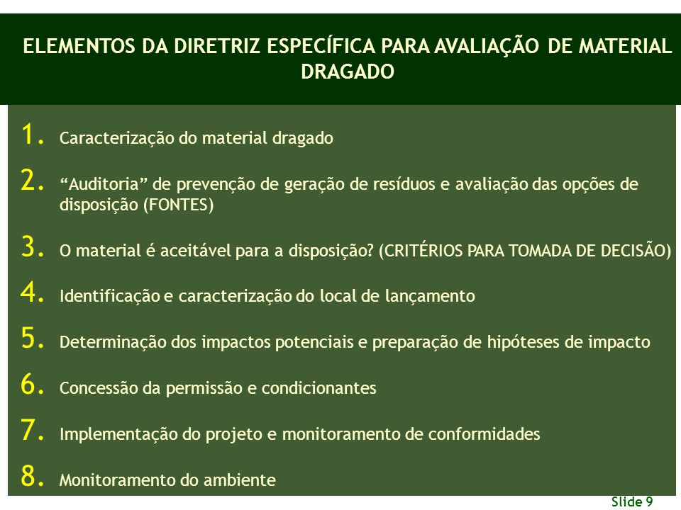 ELEMENTOS DA DIRETRIZ ESPECÍFICA PARA AVALIAÇÃO DE MATERIAL DRAGADO