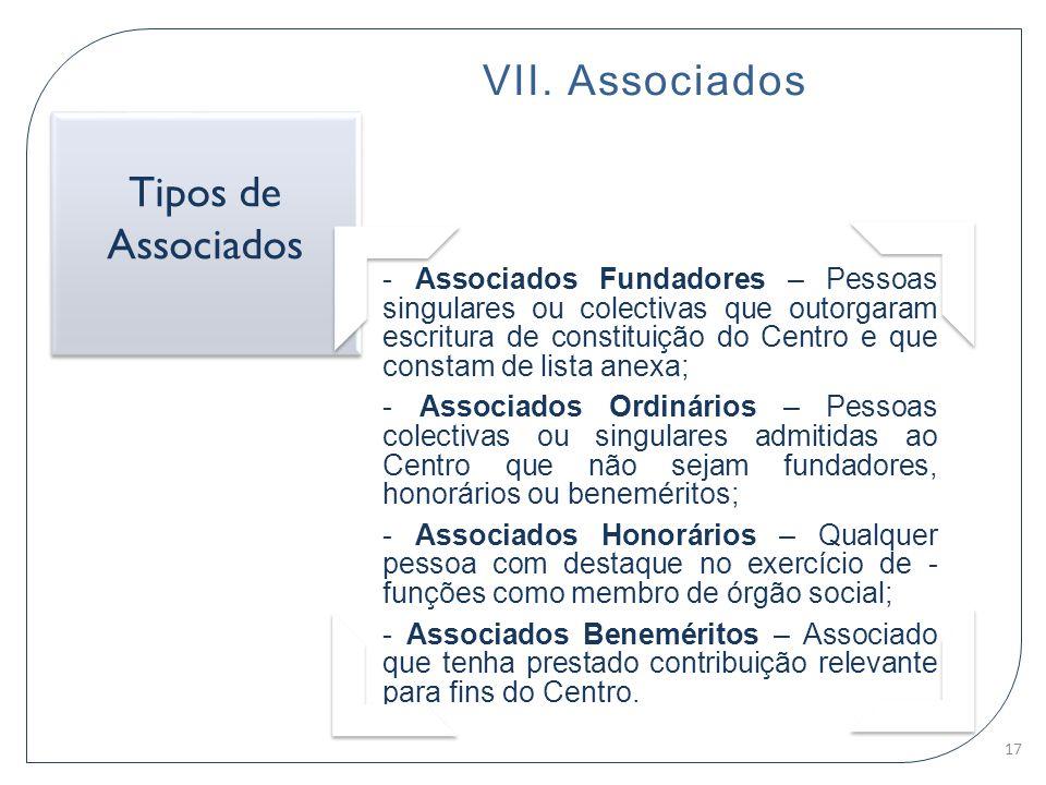 Tipos de Associados VII. Associados
