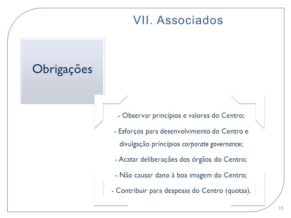 Obrigações VII. Associados - Observar princípios e valores do Centro;