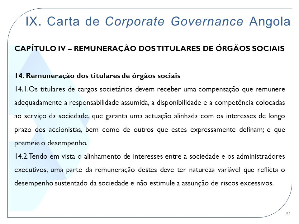 IX. Carta de Corporate Governance Angola