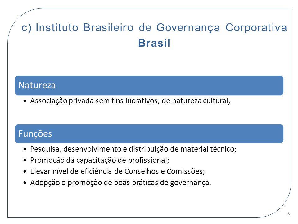 c) Instituto Brasileiro de Governança Corporativa Brasil