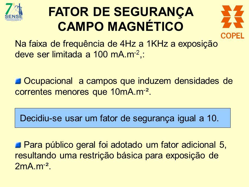 FATOR DE SEGURANÇA CAMPO MAGNÉTICO