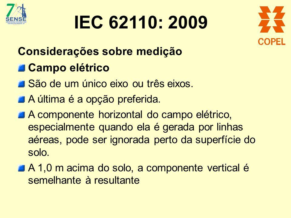 IEC 62110: 2009 Considerações sobre medição Campo elétrico