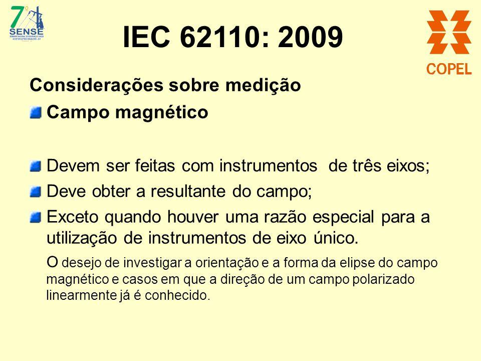 IEC 62110: 2009 Considerações sobre medição Campo magnético