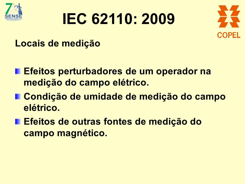 IEC 62110: 2009 Locais de medição. Efeitos perturbadores de um operador na medição do campo elétrico.