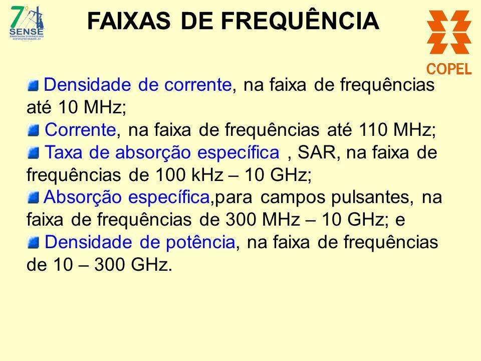 FAIXAS DE FREQUÊNCIA Corrente, na faixa de frequências até 110 MHz;