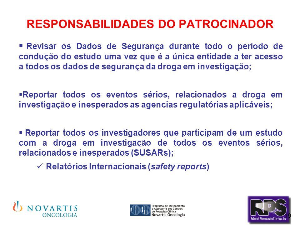 RESPONSABILIDADES DO PATROCINADOR