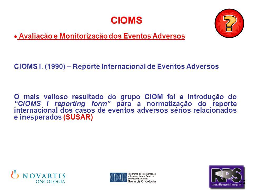 CIOMS Avaliação e Monitorização dos Eventos Adversos