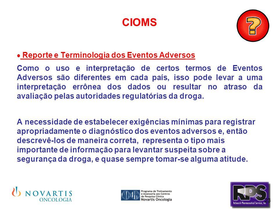 CIOMS Reporte e Terminologia dos Eventos Adversos