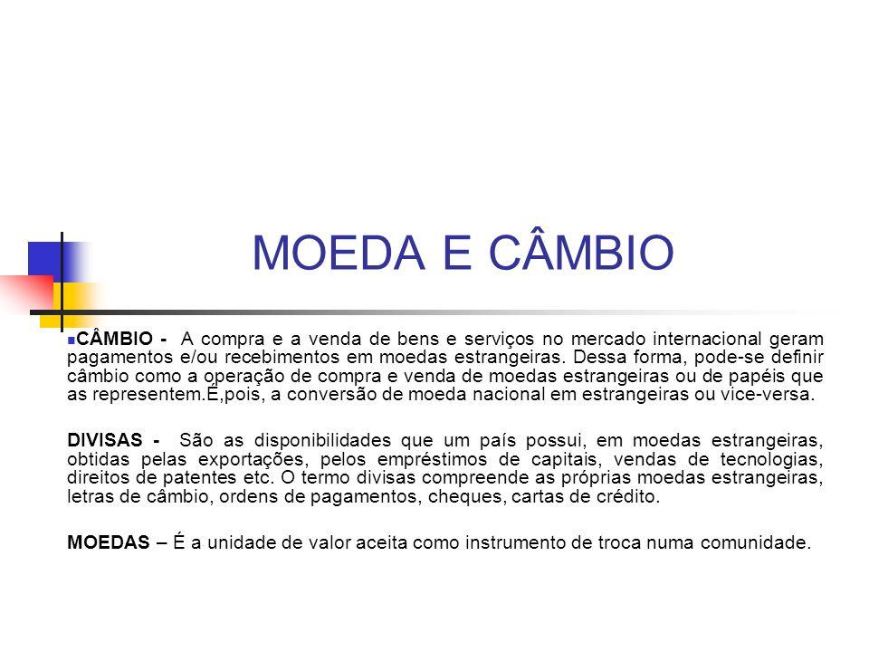MOEDA E CÂMBIO