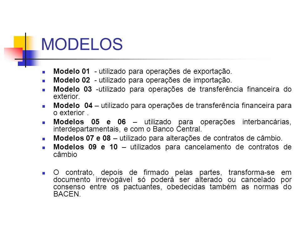 MODELOS Modelo 01 - utilizado para operações de exportação.