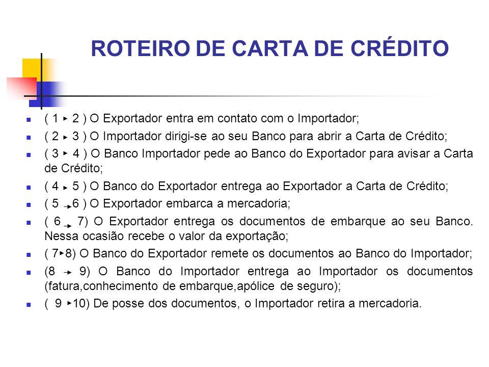 ROTEIRO DE CARTA DE CRÉDITO