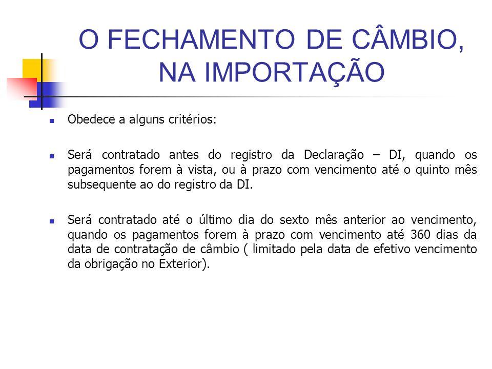 O FECHAMENTO DE CÂMBIO, NA IMPORTAÇÃO