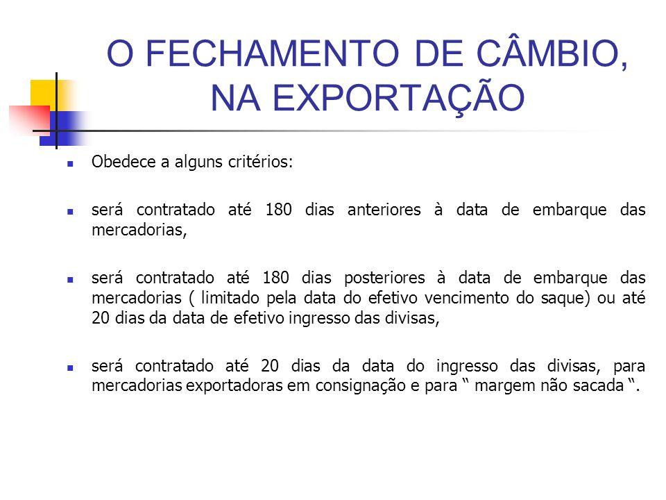 O FECHAMENTO DE CÂMBIO, NA EXPORTAÇÃO