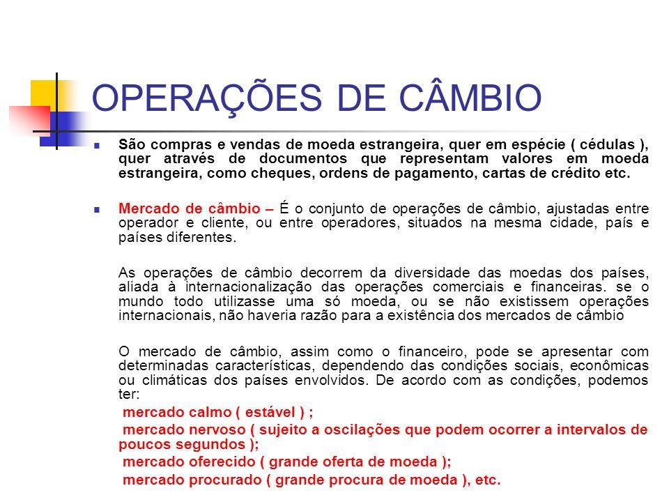 OPERAÇÕES DE CÂMBIO