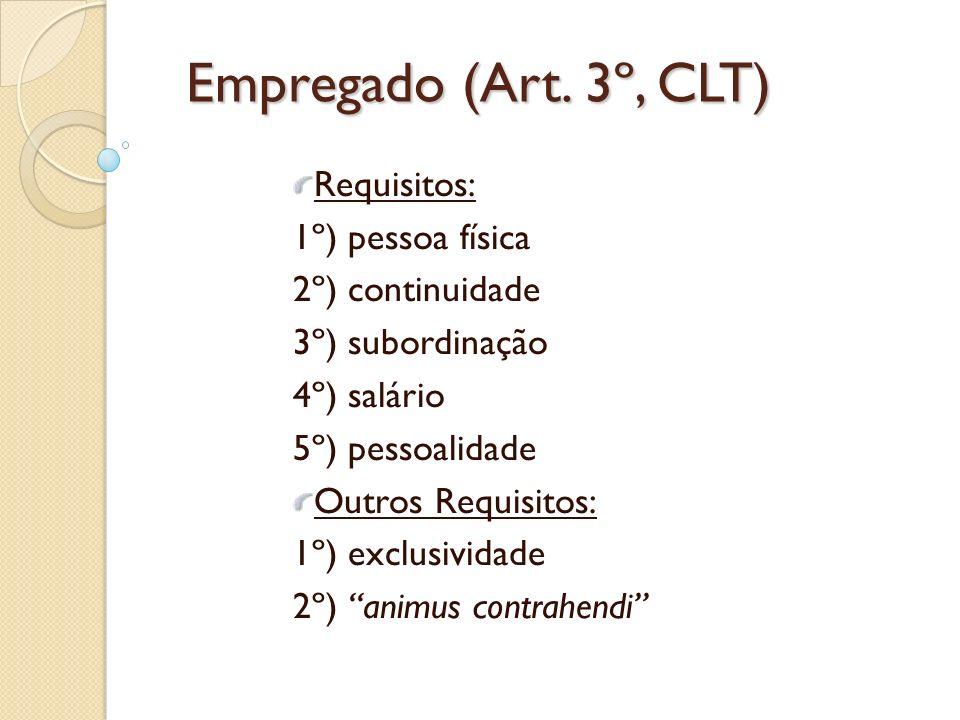 Empregado (Art. 3º, CLT) Requisitos: 1º) pessoa física