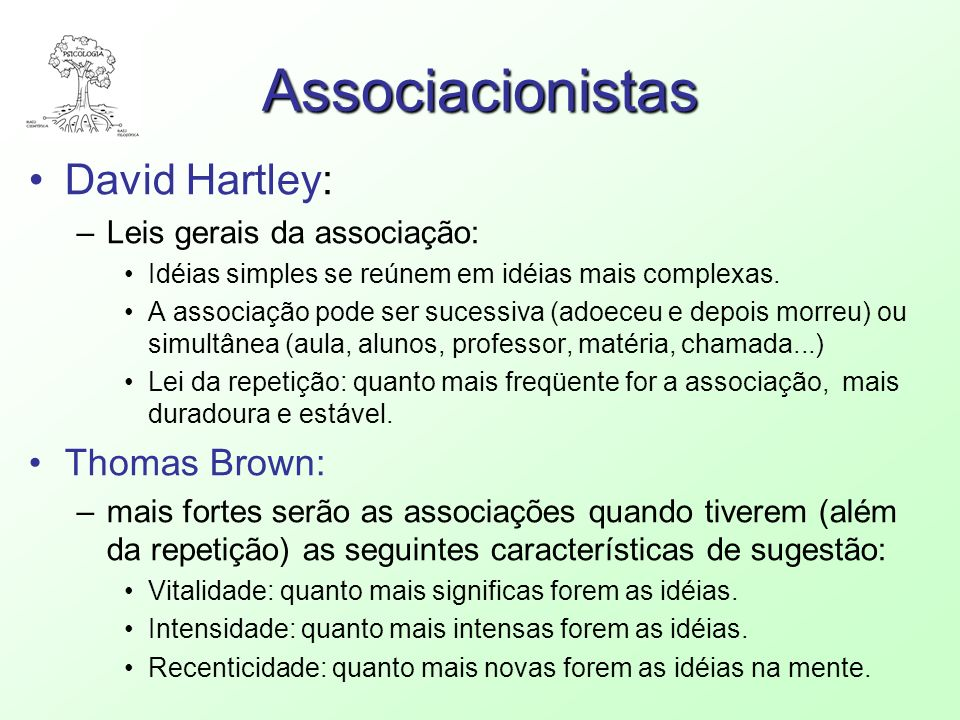 Associacionistas David Hartley: Thomas Brown:
