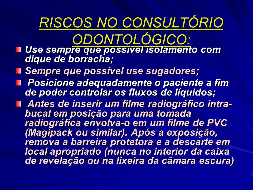 RISCOS NO CONSULTÓRIO ODONTOLÓGICO: