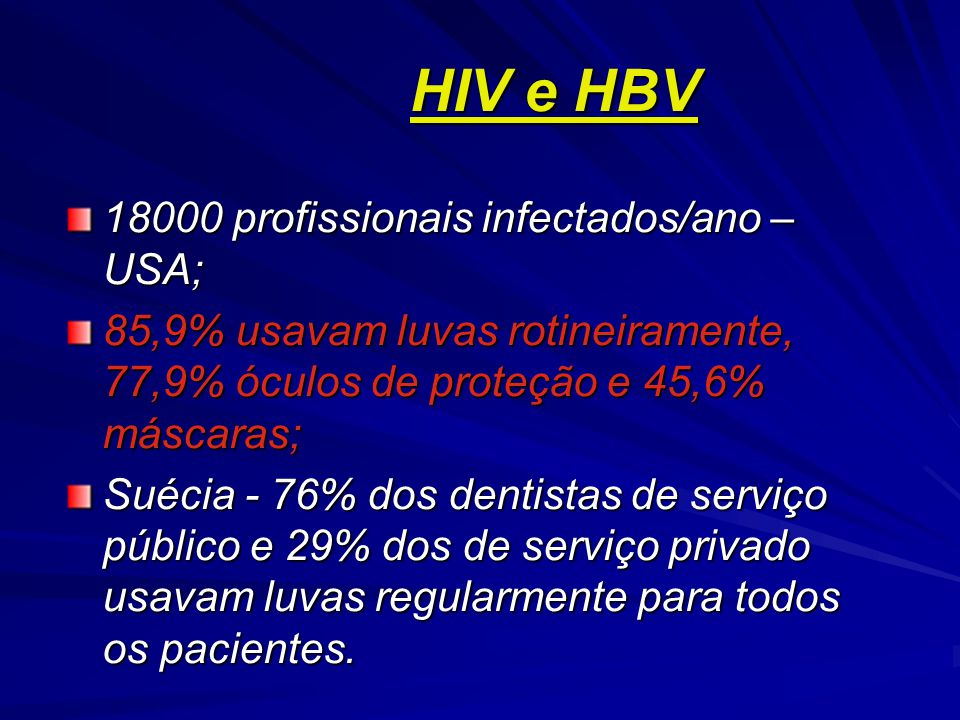 HIV e HBV 18000 profissionais infectados/ano – USA;