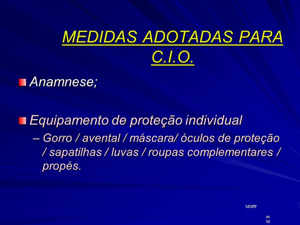 MEDIDAS ADOTADAS PARA C.I.O.