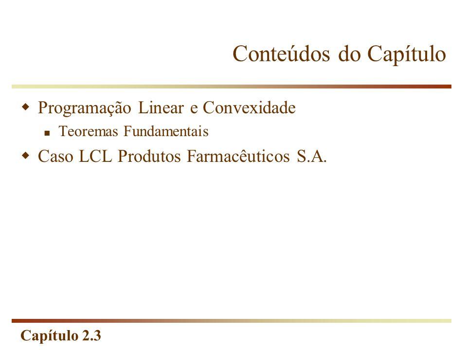 Conteúdos do Capítulo Programação Linear e Convexidade