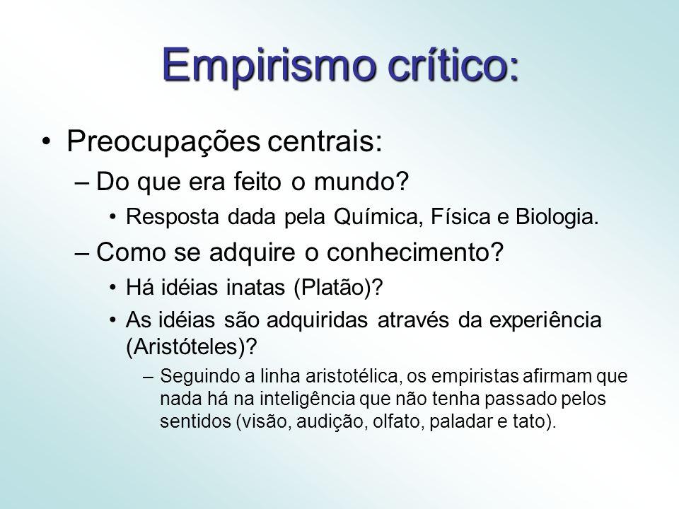 Empirismo crítico: Preocupações centrais: Do que era feito o mundo
